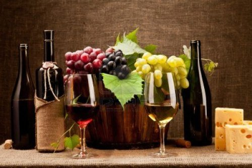 11105480-still-life-with-wine-bottles-glasses-and-grapes